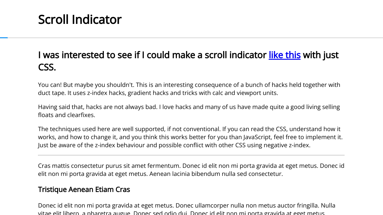 CSS only scroll indicator