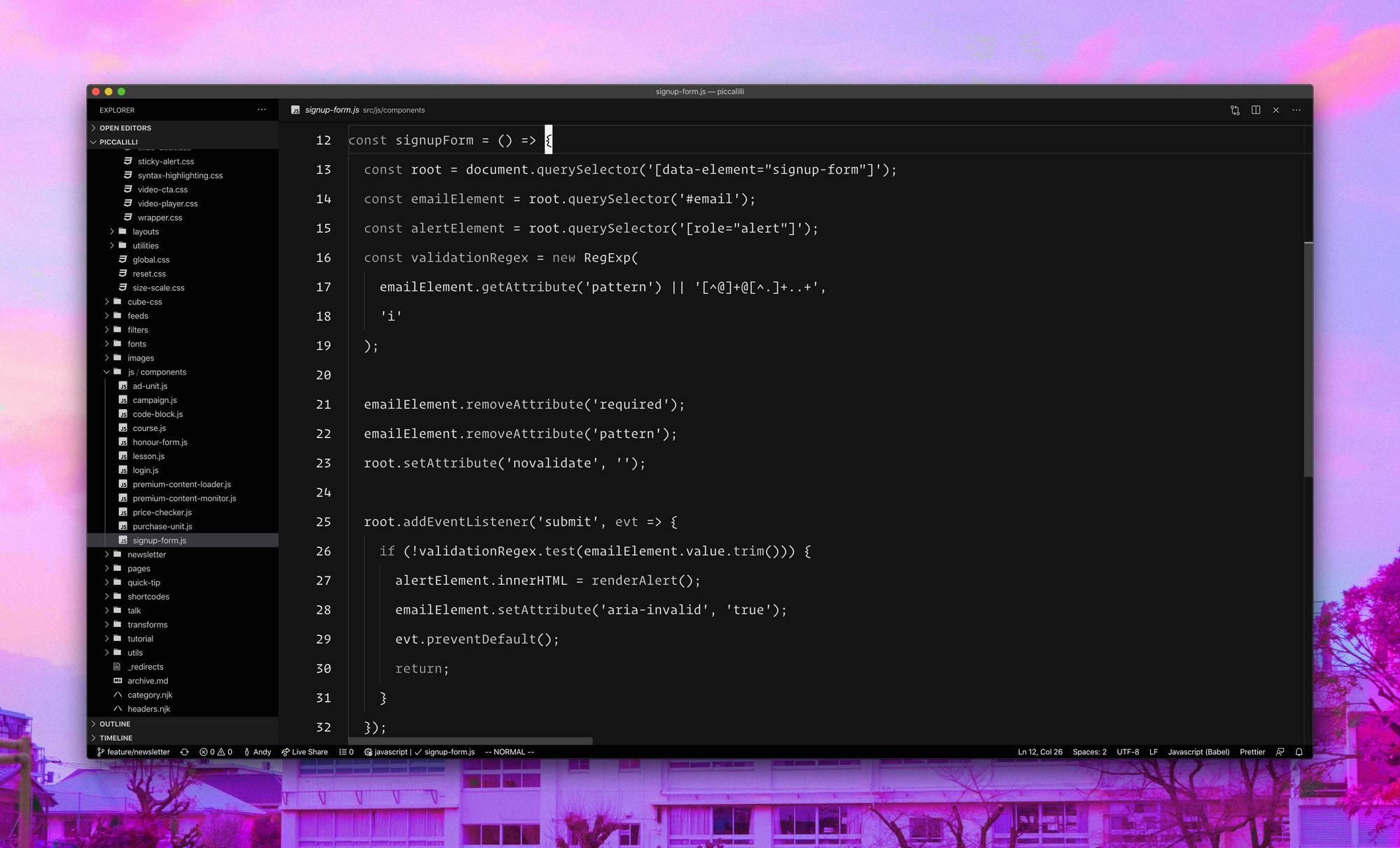 JS code in VS Code