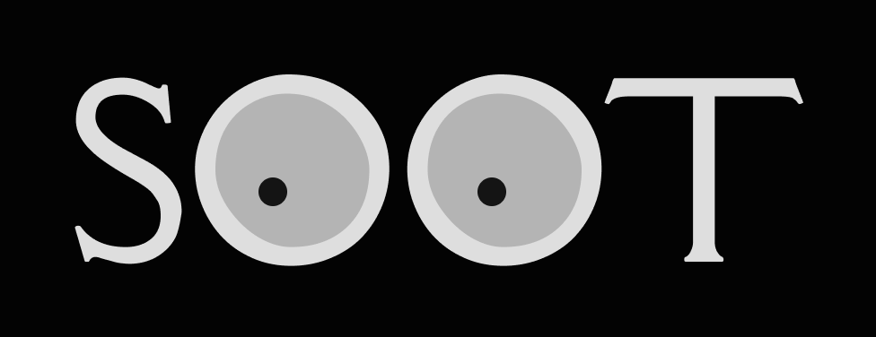 Soot logo where the O's are eyes
