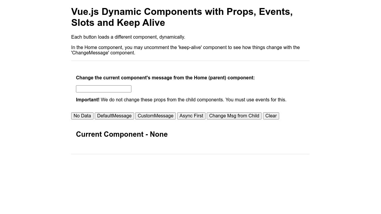 Codepen Vue Js Dynamic Components With Props Events Slots And Keep Alive