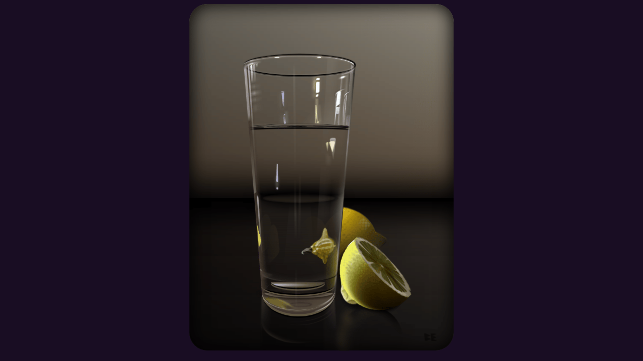 Pure CSS Still Life - Water and Lemons