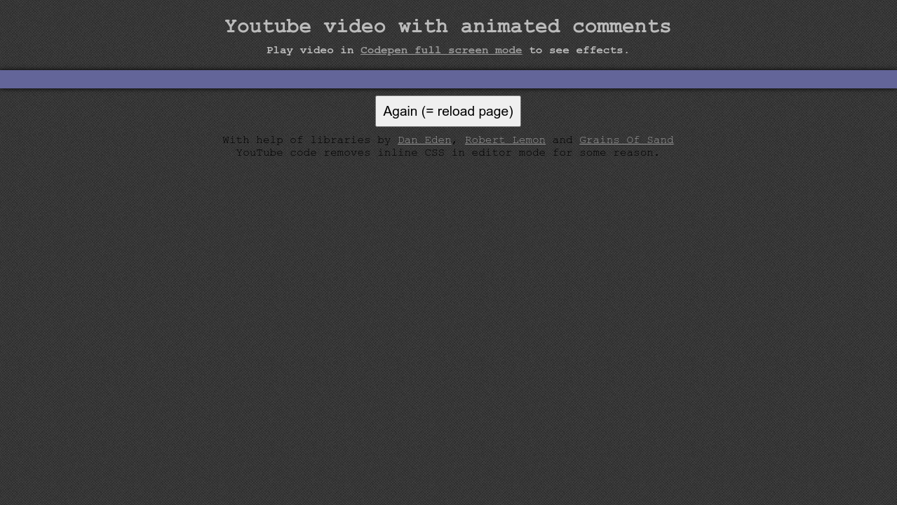 Animated Comments On Embedded Youtube Video